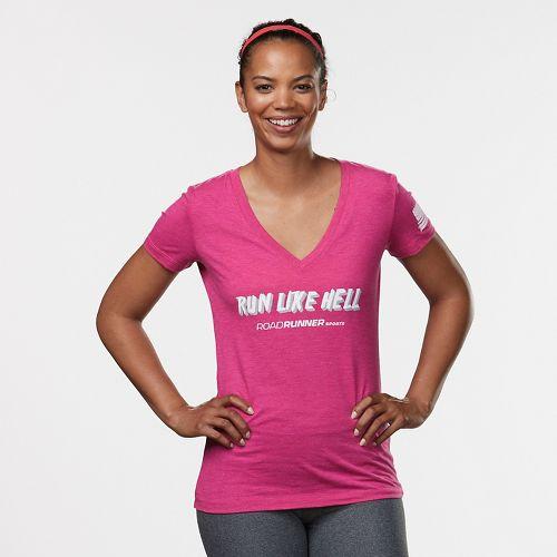 Womens R-Gear Run Like Hell Graphic Tee Short Sleeve Technical Tops - Heather Berry M
