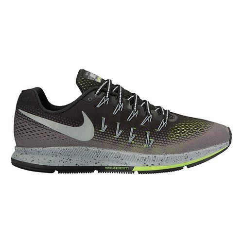 Mens Nike Air Zoom Pegasus 33 Shield Running Shoe - Cargo Khaki/Volt 9