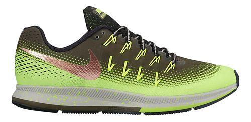 Mens Nike Air Zoom Pegasus 33 Shield Running Shoe - Cargo Khaki/Volt 12