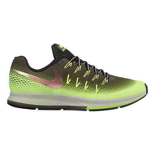 Mens Nike Air Zoom Pegasus 33 Shield Running Shoe - Cargo Khaki/Volt 12.5