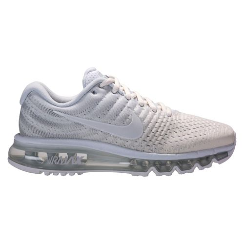 Womens Nike Air Max 2017 Running Shoe - Platinum/White 9