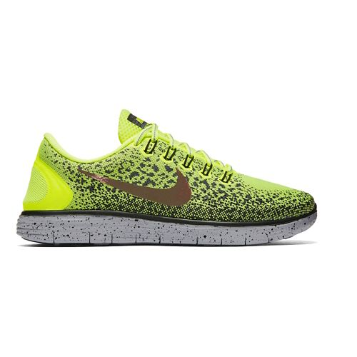 Mens Nike Free RN Distance Shield Running Shoe - Volt/Cargo Khaki 10