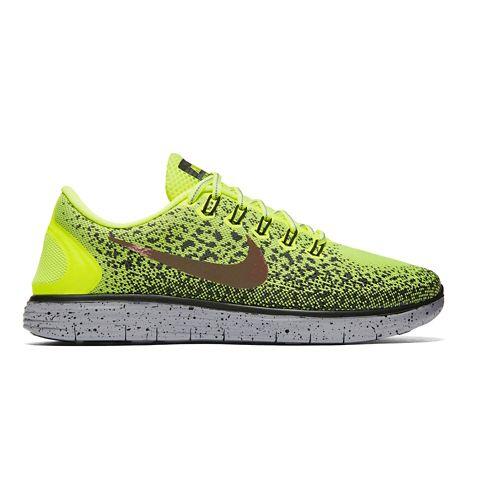 Mens Nike Free RN Distance Shield Running Shoe - Volt/Cargo Khaki 12.5