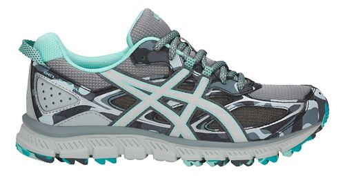 Womens ASICS GEL-Scram 3 Trail Running Shoe - Grey/Silver/Blue 9.5