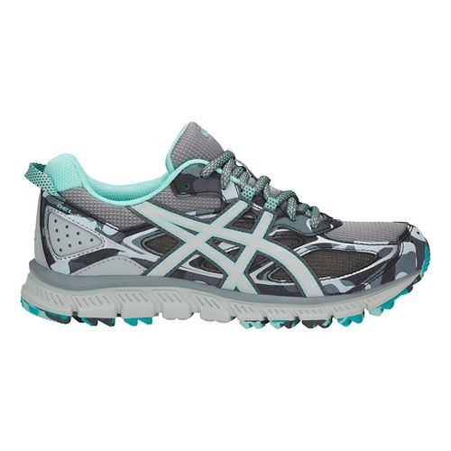 Womens ASICS GEL-Scram 3 Trail Running Shoe - Grey/Silver/Blue 10.5