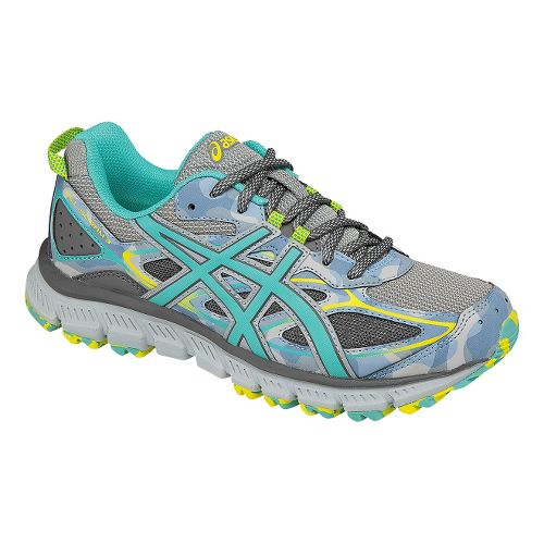 Womens ASICS GEL-Scram 3 Trail Running Shoe - Grey/Turquoise 10.5