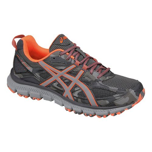 Womens ASICS GEL-Scram 3 Trail Running Shoe - Grey/Coral 6.5