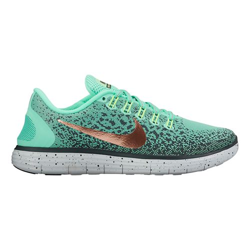 Womens Nike Free RN Distance Shield Running Shoe - Green Glow 9.5