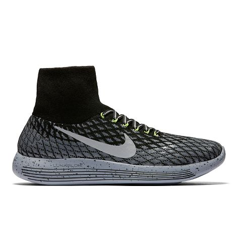 Mens Nike LunarEpic Flyknit Shield Running Shoe - Black 10.5