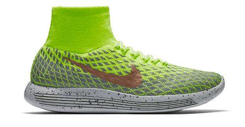 Mens Nike LunarEpic Flyknit Shield Running Shoe - Volt/Cargo Khaki 12