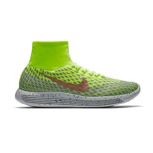 Mens Nike LunarEpic Flyknit Shield Running Shoe - Volt/Cargo Khaki 11
