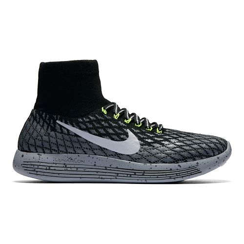 Womens Nike LunarEpic Flyknit Shield Running Shoe - Black 7