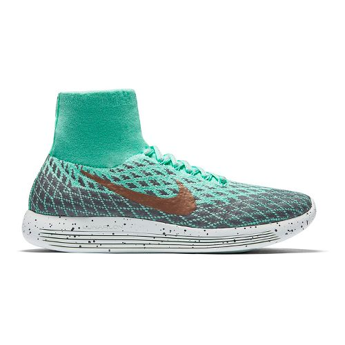 Womens Nike LunarEpic Flyknit Shield Running Shoe - Green Glow 7.5