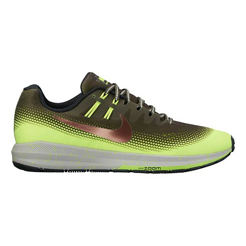 Mens Nike Air Zoom Structure 20 Shield Running Shoe - Cargo Khaki/Volt 10