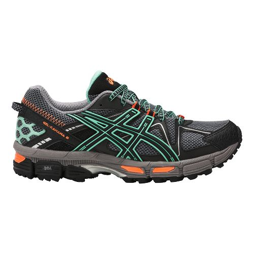 Womens ASICS GEL-Kahana 8 Trail Running Shoe - Black/Mint/Orange 10.5