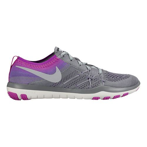 Womens Nike Free TR Focus Flyknit Cross Training Shoe - Grey/Violet 8.5