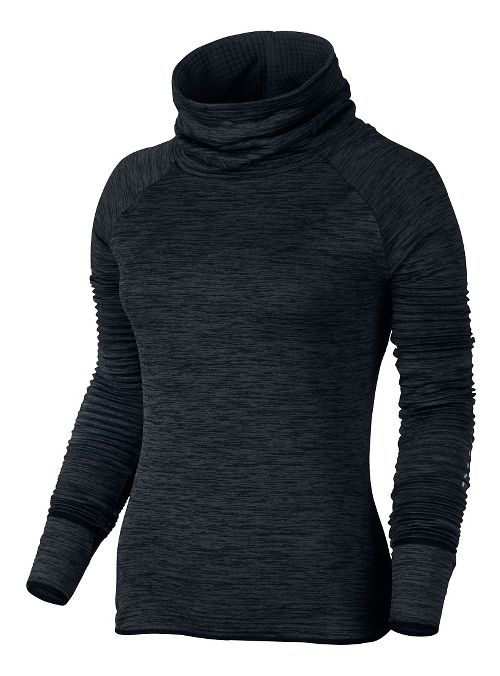 Womens Nike Therma Sphere Element Running Long Sleeve Technical Tops - Black/Heather L