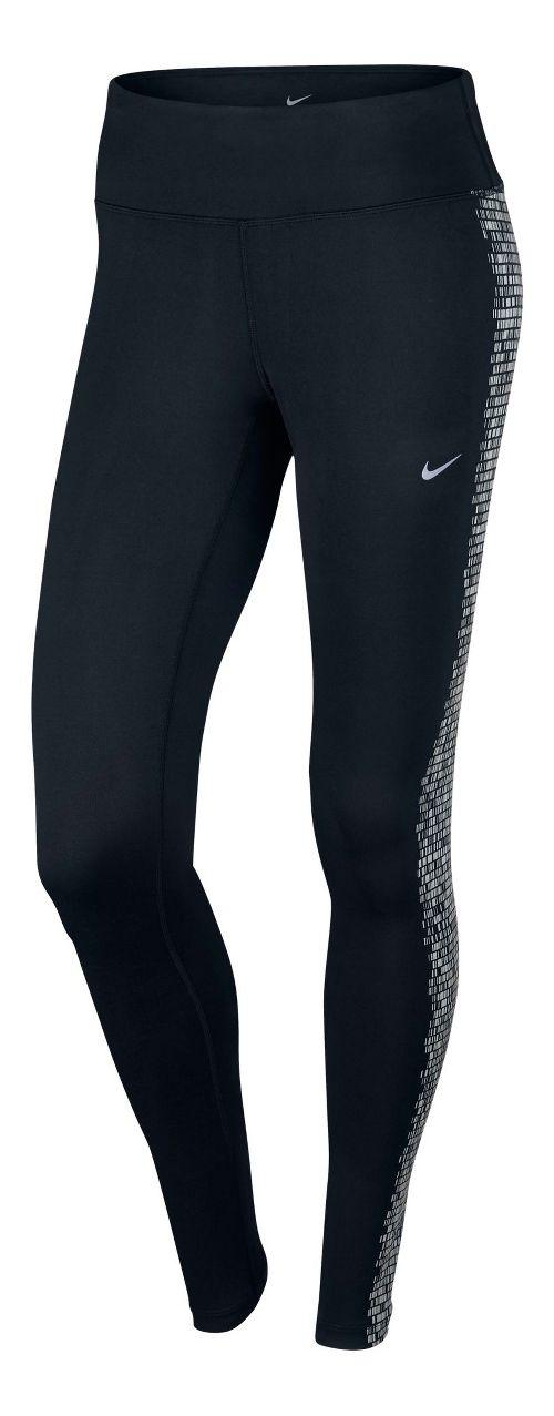 Womens Nike Power Epic Flash Tights & Leggings - Black/Silver XL