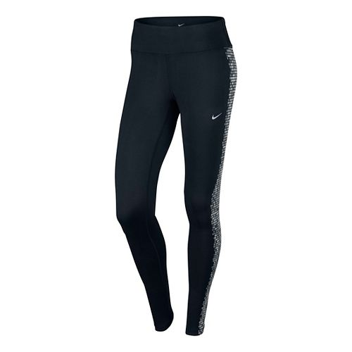 Womens Nike Power Epic Flash Tights & Leggings - Black/Silver L