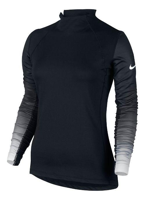 Womens Nike Pro Hyperwarm Long Sleeve Technical Tops - Black/White XL