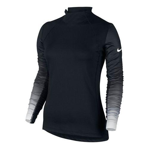 Womens Nike Pro Hyperwarm Long Sleeve Technical Tops - Black/White L