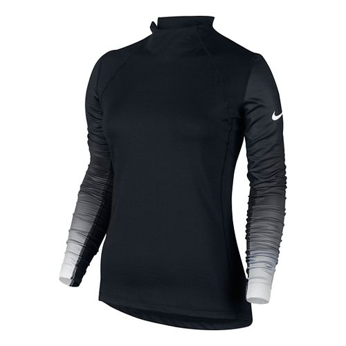Womens Nike Pro Hyperwarm Long Sleeve Technical Tops - Black/White S