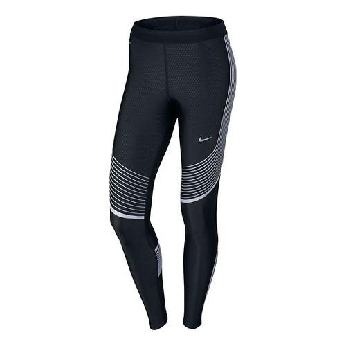 Womens Nike Power Flash Speed Tights & Leggings - Black L