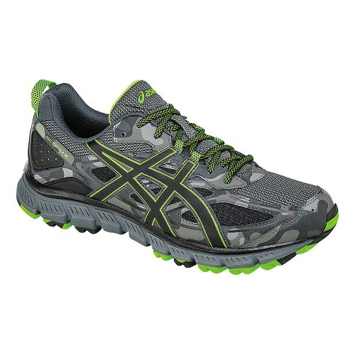 Mens ASICS GEL-Scram 3 Trail Running Shoe - Grey/Green 12.5