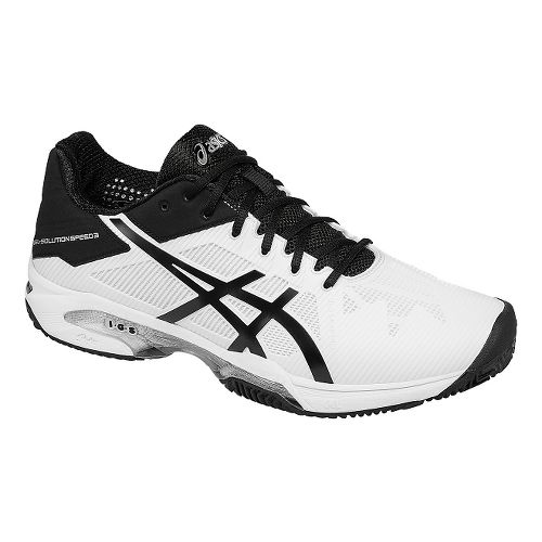 Mens ASICS GEL-Solution Speed 3 Clay Court Shoe - White/Black 7.5