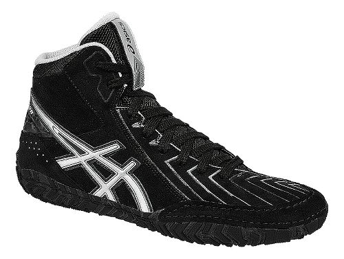 Mens ASICS Aggressor 3 Wrestling Shoe - Black/Silver 11.5