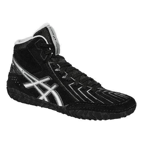 Mens ASICS Aggressor 3 Wrestling Shoe - Black/Silver 4.5