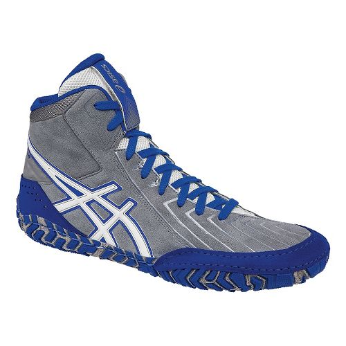 Mens ASICS Aggressor 3 Wrestling Shoe - Grey/White 6.5