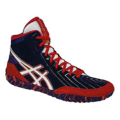 Mens ASICS Aggressor 3 Wrestling Shoe - Blue/Red 4.5