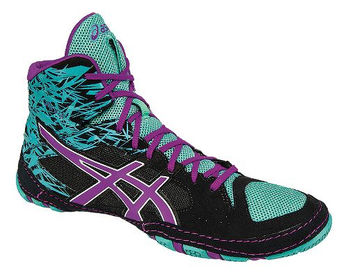Mens ASICS Cael V7.0 Wrestling Shoe - Black/Purple 11.5