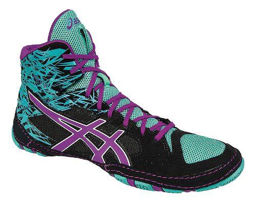 Mens ASICS Cael V7.0 Wrestling Shoe - Black/Purple 8.5