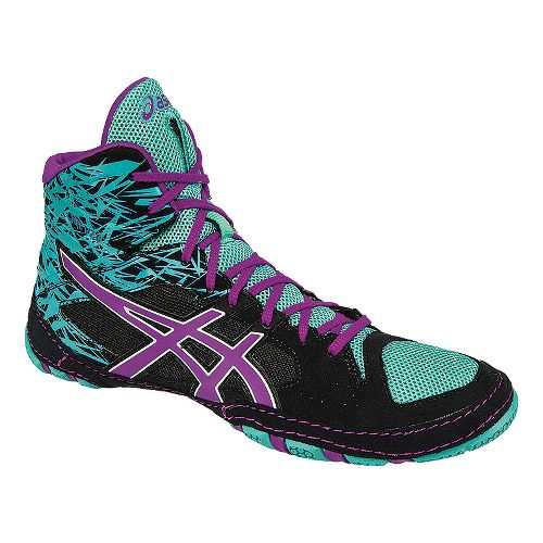 Mens ASICS Cael V7.0 Wrestling Shoe - Black/Purple 10.5