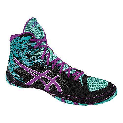 Mens ASICS Cael V7.0 Wrestling Shoe - Black/Purple 12.5