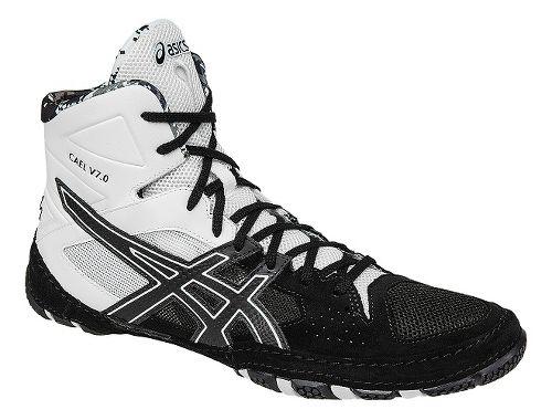 Mens ASICS Cael V7.0 Wrestling Shoe - Black/White 12.5