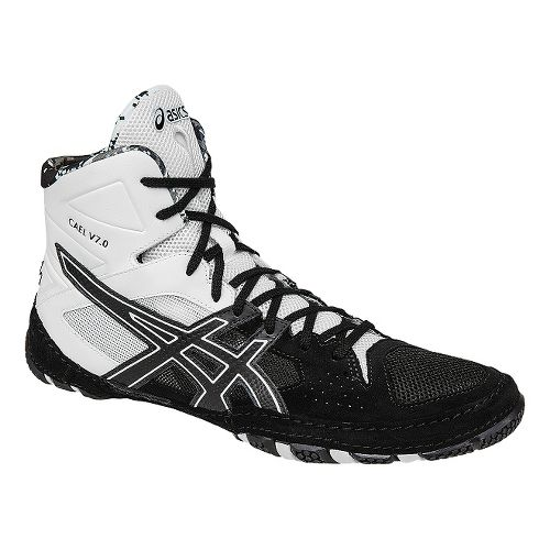 Mens ASICS Cael V7.0 Wrestling Shoe - Black/White 11