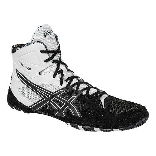 Mens ASICS Cael V7.0 Wrestling Shoe - Black/White 9