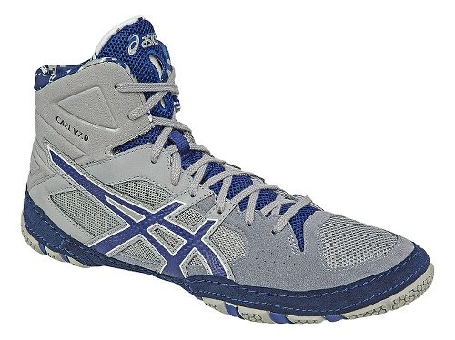 Mens ASICS Cael V7.0 Wrestling Shoe - Grey/Blue 11.5