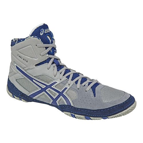Mens ASICS Cael V7.0 Wrestling Shoe - Grey/Blue 12.5