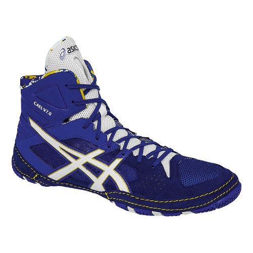 Mens ASICS Cael V7.0 Wrestling Shoe - Blue/White 7.5