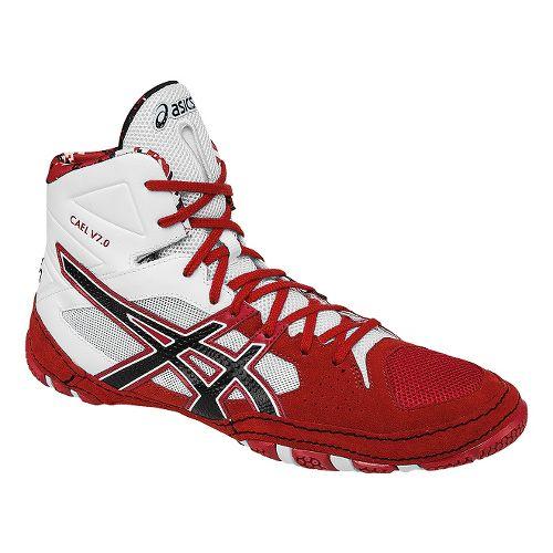 Mens ASICS Cael V7.0 Wrestling Shoe - Red/White 12.5