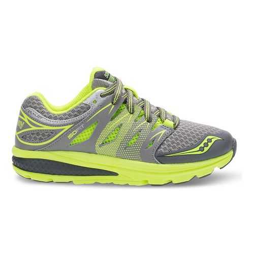 Kids Saucony Zealot 2 Running Shoe - Grey/Citron 2.5Y