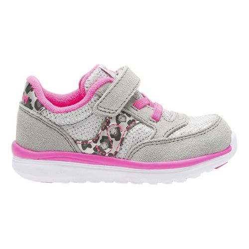 Kids Saucony Baby Jazz Lite Casual Shoe - Silver/Pink 11C