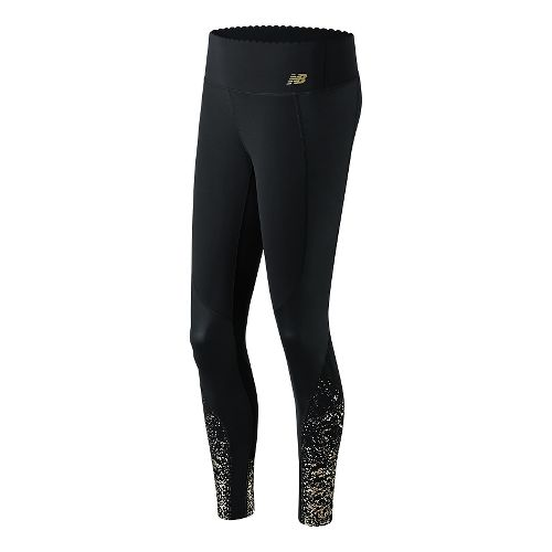 Womens New Balance Fashion Intensity Tights & Leggings Pants - Gold Print S