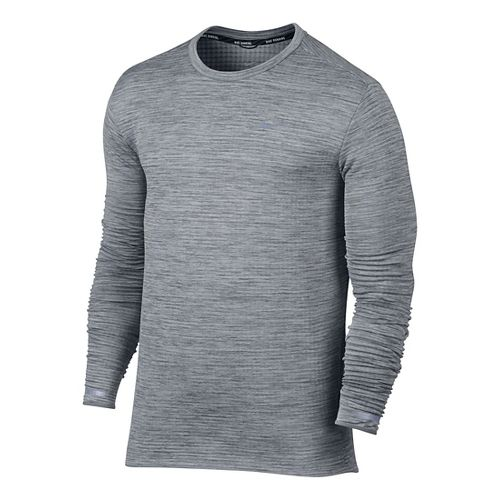 Mens Nike Therma Sphere Element Long Sleeve Technical Tops - Cool Grey M