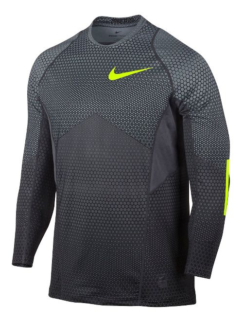 Mens Nike Pro Hyperwarm Long Sleeve Technical Tops - Cool Grey M