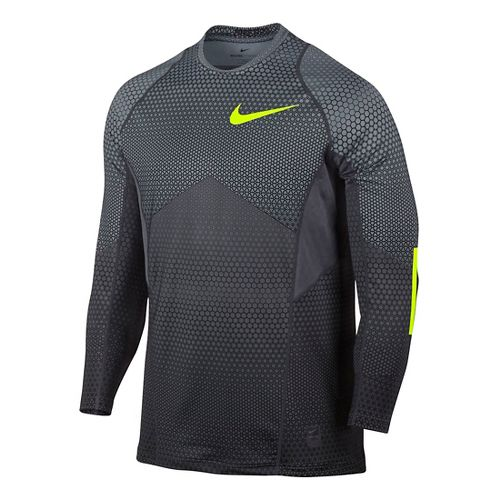 Mens Nike Pro Hyperwarm Long Sleeve Technical Tops - Cool Grey L